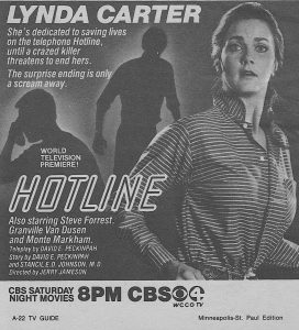 Newspaper ad for The Lynda Carter made for TV movie Hotline (1982) - a different kind of horror than The Ghost of Sierra de Cobre (1964)